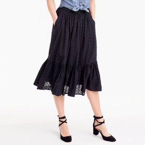 J. Crew Clip Dot Tiered Skirt Black Ruffle Midi